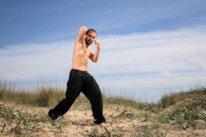 武术室外辅导员的锻炼 库存照片