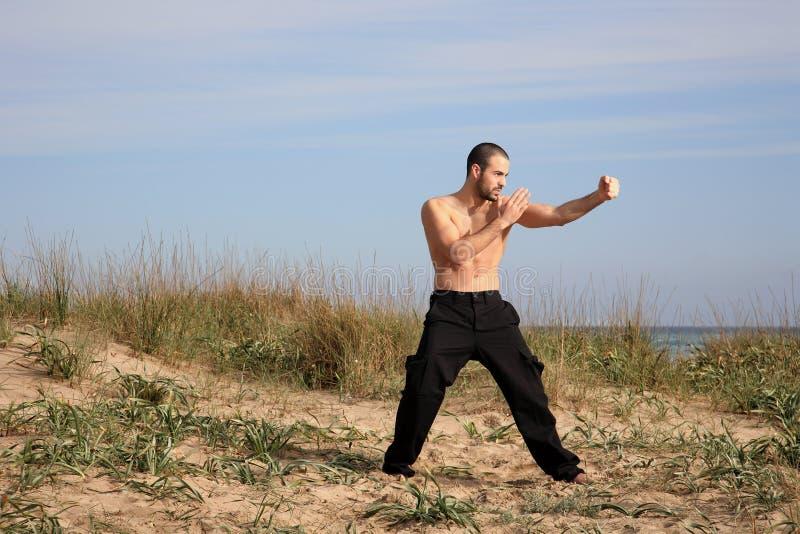 武术室外辅导员的锻炼 库存图片