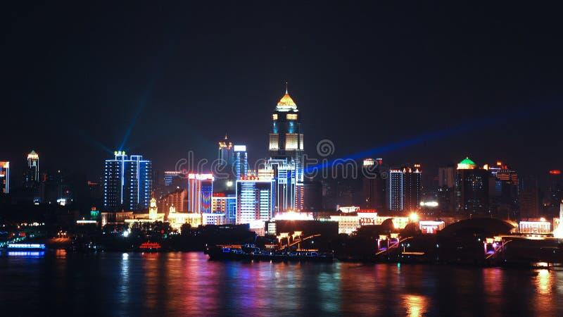 武汉在晚上 库存照片