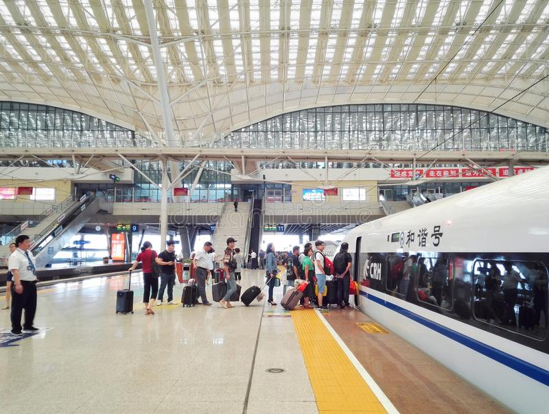 武汉的高铁驻地 库存照片