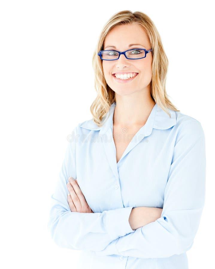 武装女实业家确信被折叠的微笑 免版税库存照片