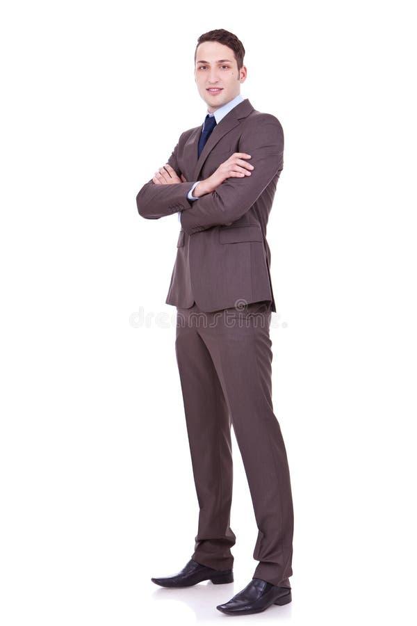 武装backgroun生意人克服的白色 免版税库存图片