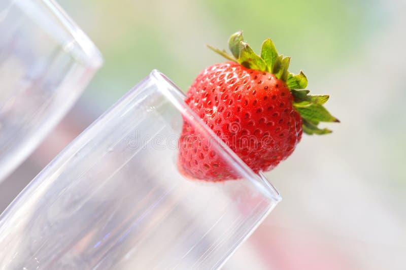 歪斜的草莓 库存照片