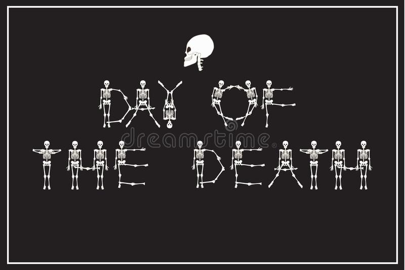 死亡的字法天与跳舞骨骼字体,套的l 向量例证