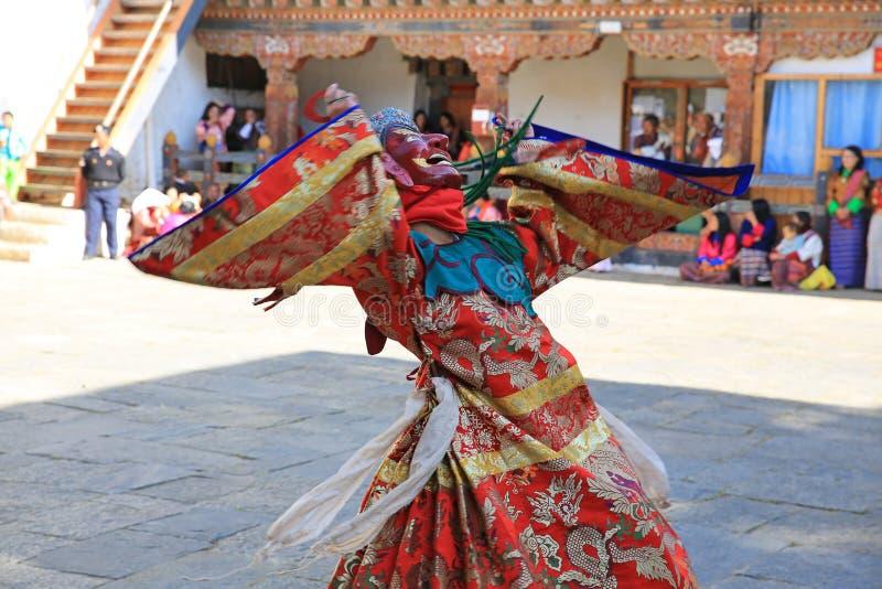 死亡节日舞蹈家,不丹的旋转的阁下 免版税库存照片