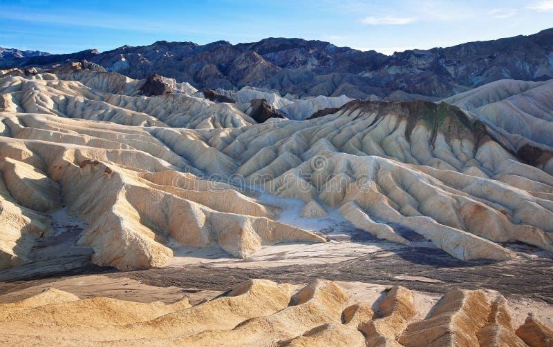死亡谷Zabriskie点被腐蚀的地质  免版税库存图片