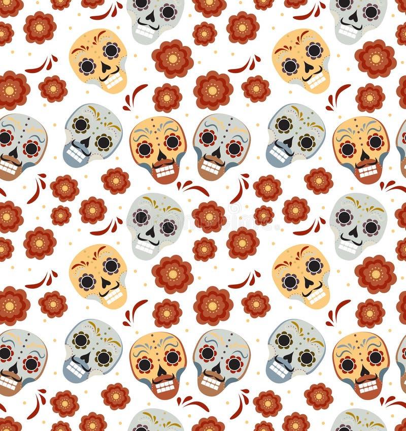 死的假日的天在墨西哥无缝的样式的与糖头骨 最基本的不尽的背景 de dia muertos 库存例证