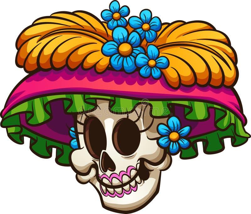 死的墨西哥catrina头骨的天 向量例证
