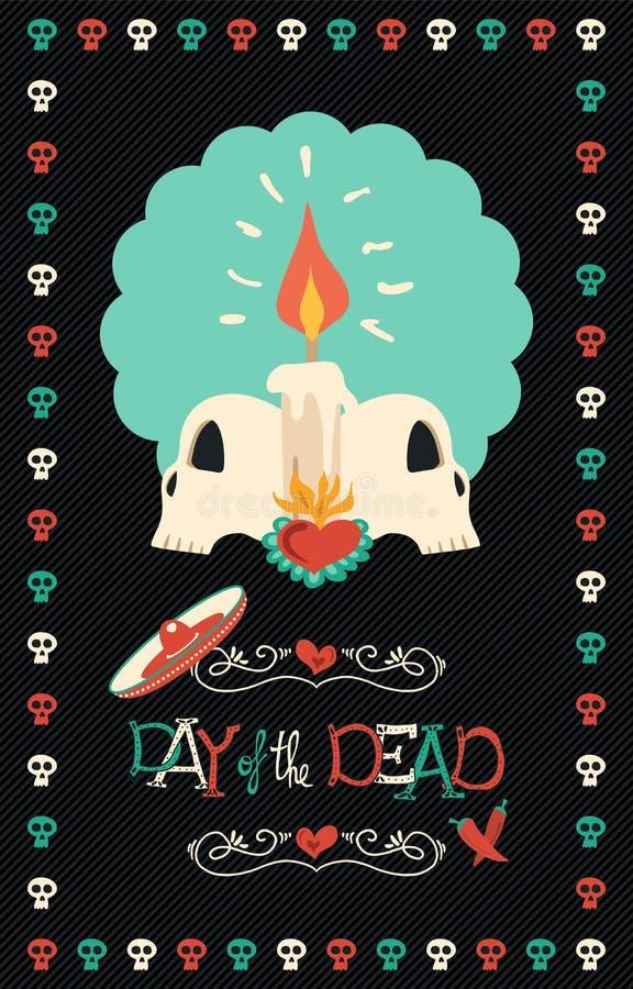 死的手拉的糖头骨海报艺术的天 库存例证