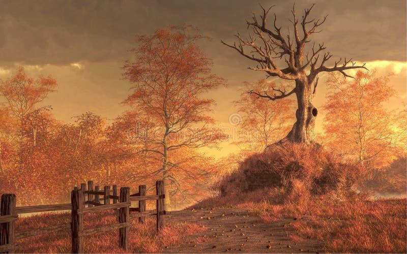 死的树在秋天 皇族释放例证