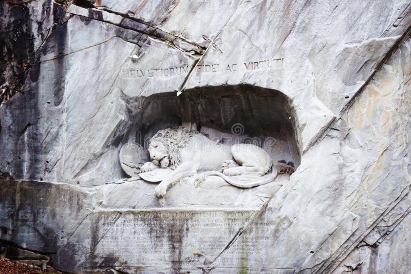 死的狮子纪念碑卢赛恩瑞士 库存照片