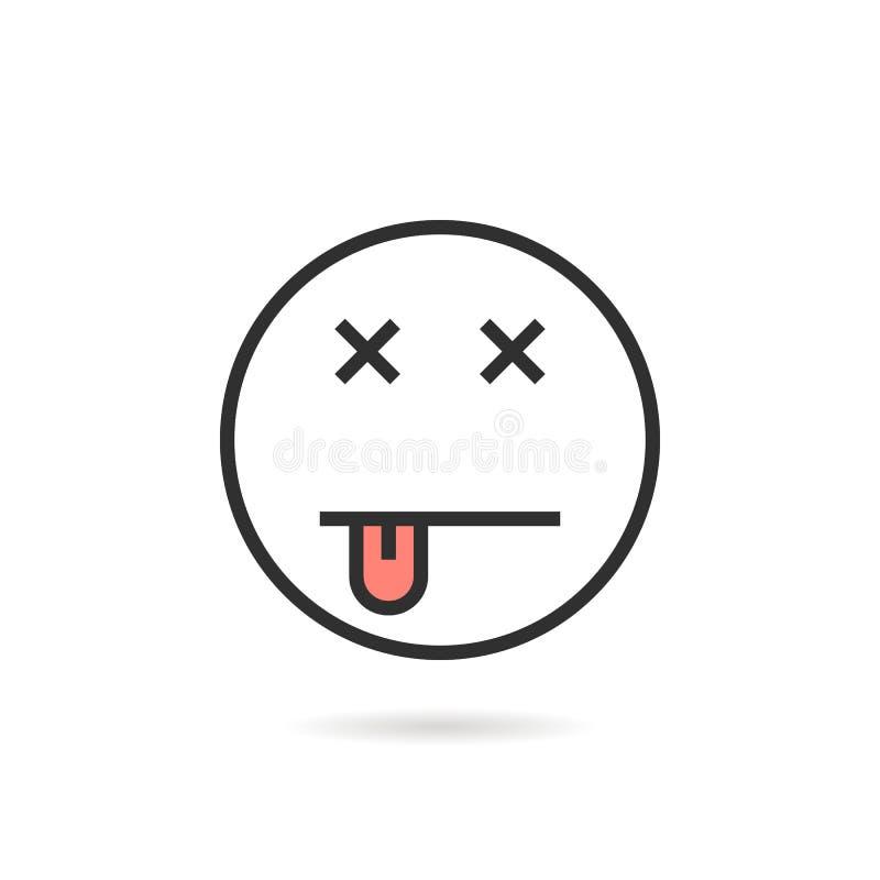 死的稀薄的线与阴影的emoji象 皇族释放例证
