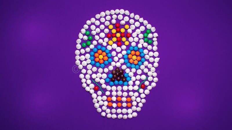 死的糖果糖头骨的天 图库摄影