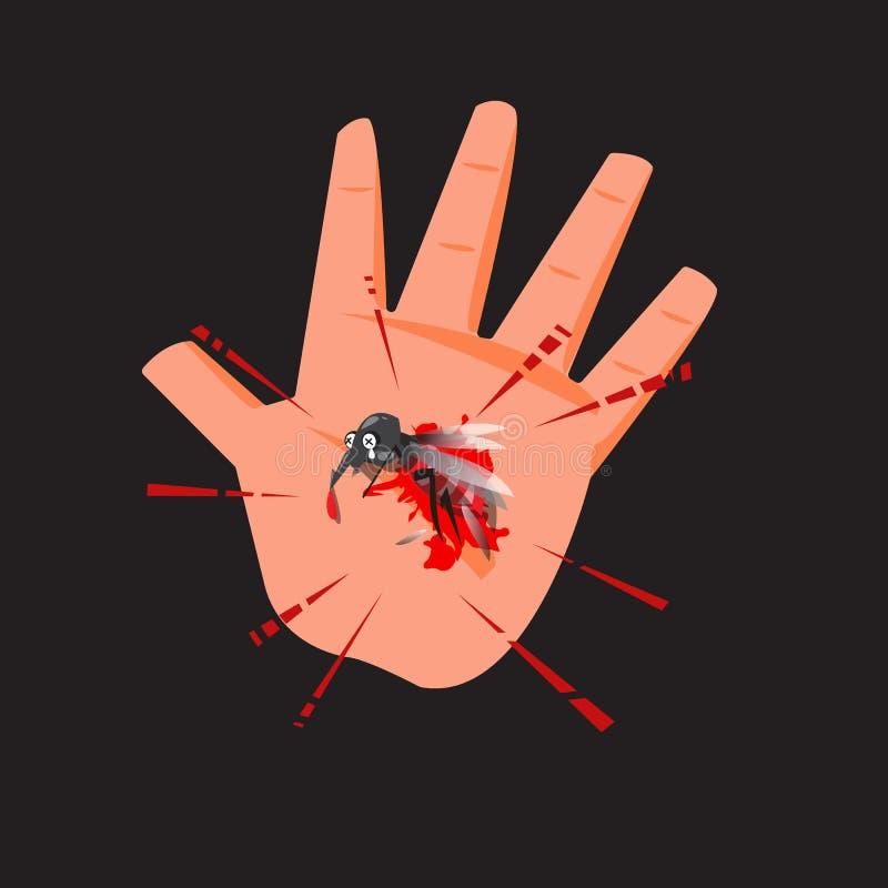 死的蚊子在有血液的人的手上 手命中蚊子- vect 库存例证