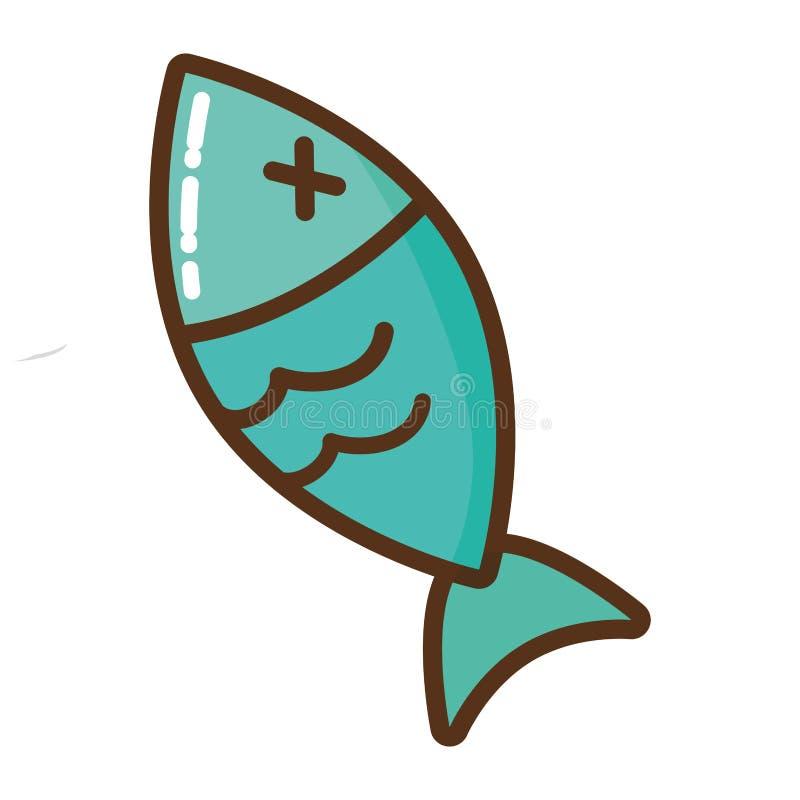 死的鱼被隔绝的象 向量例证