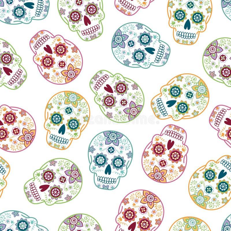 死糖头骨4无缝的样式的墨西哥天 皇族释放例证