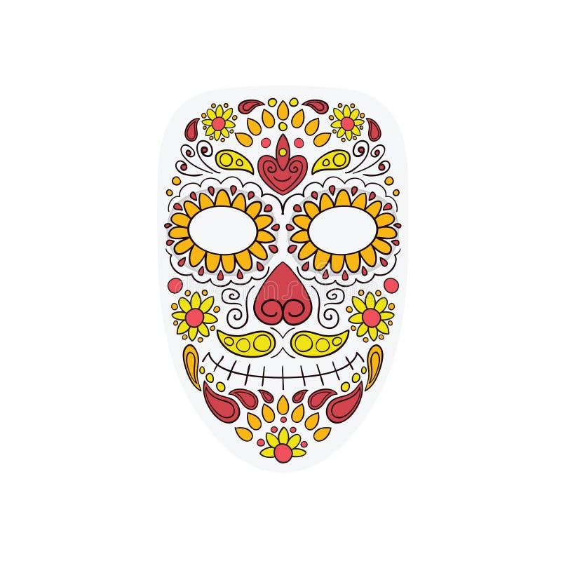 死者的五颜六色的头骨面具天有花饰和花无缝的样式的 Dia de Los Muertos,五颜六色的假日头骨 库存例证