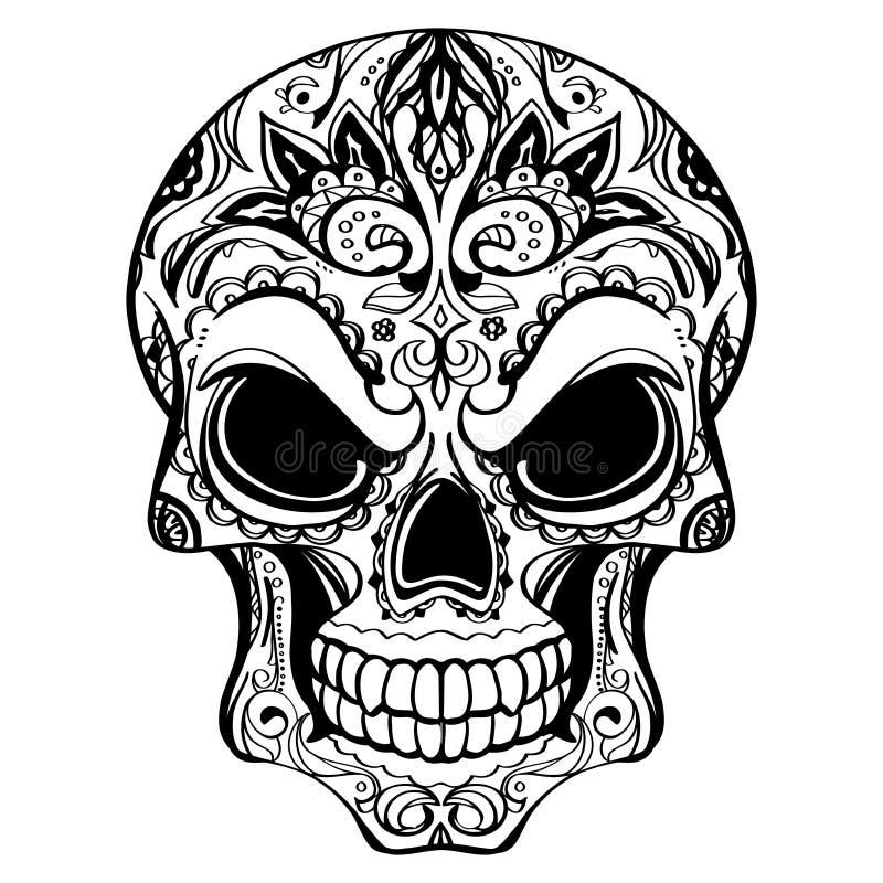 死者的天,有花饰的头骨 向量例证