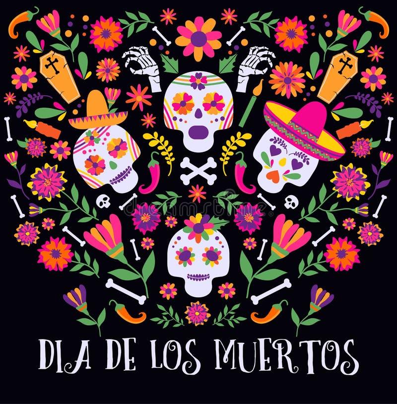 死者的天, Dia de los muertos,与五颜六色的墨西哥花和象的横幅 节日,假日海报,党飞行物 库存例证