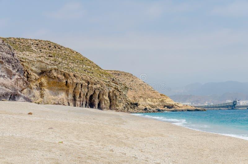 死者的海滩的风景在阿尔梅里雅 库存照片