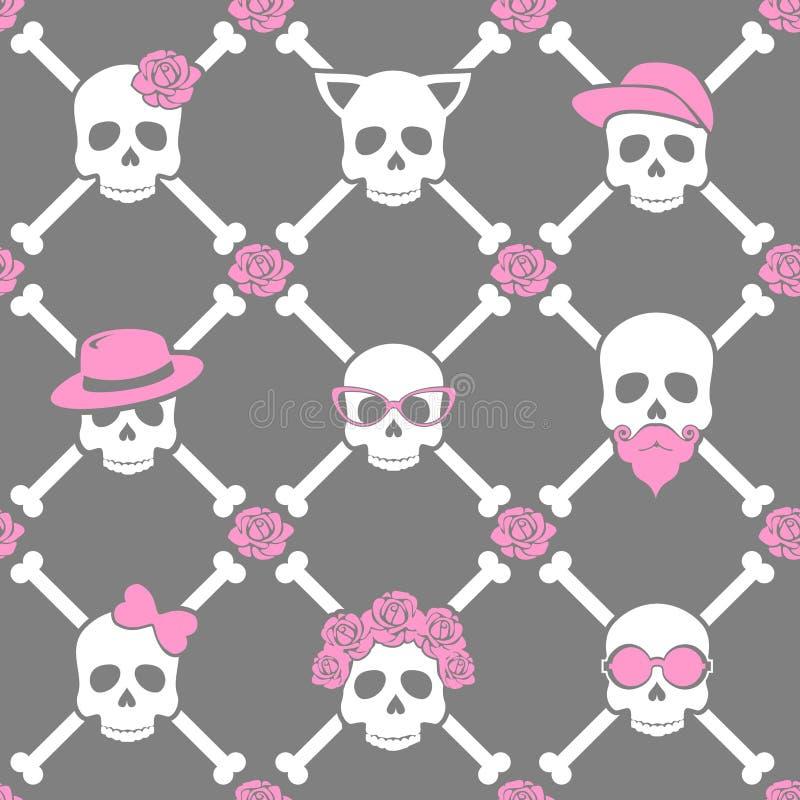 死,五颜六色的时髦的头骨和花卉样式的天有装饰品的 无缝的模式 库存例证