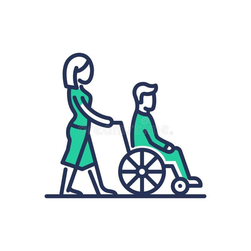 残疾人帮助-现代传染媒介线设计象 向量例证