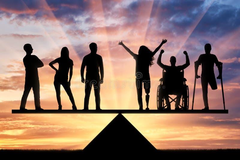 残疾人的概念平等社会的 库存图片