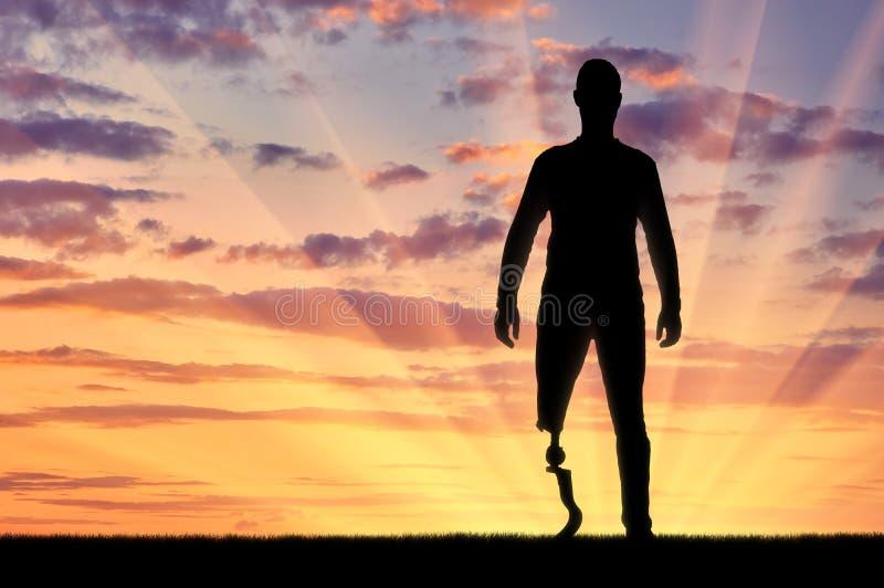 残疾人的概念有一条义肢腿的 库存照片