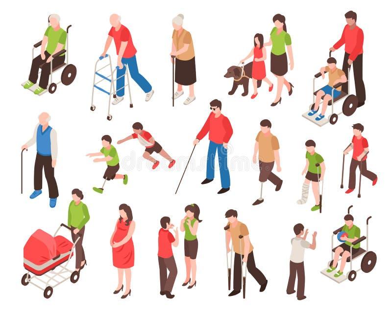 残疾人等量集合 向量例证