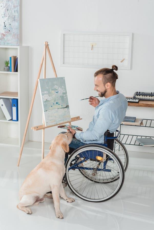 残疾人绘画 库存照片