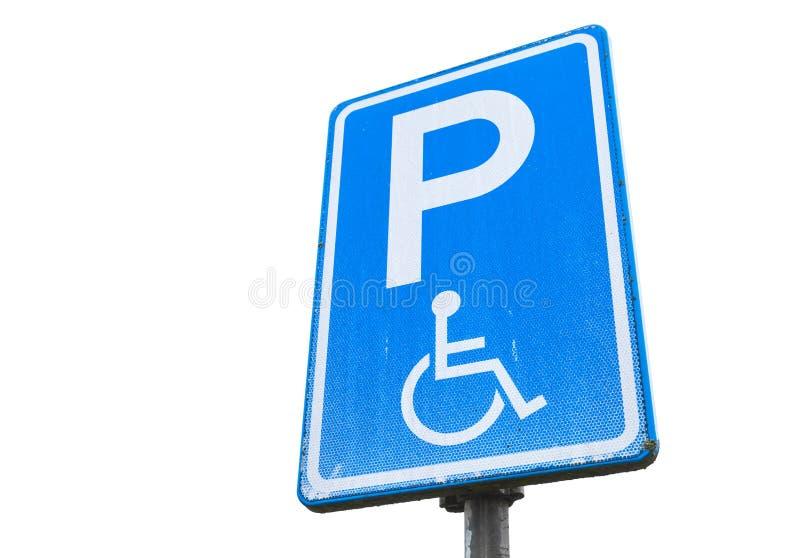 残疾停车处许可证,被隔绝的蓝色路标 库存照片