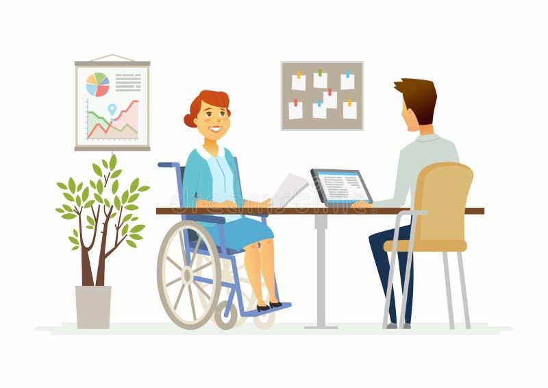 残疾妇女在办公室-现代动画片人字符例证 库存例证
