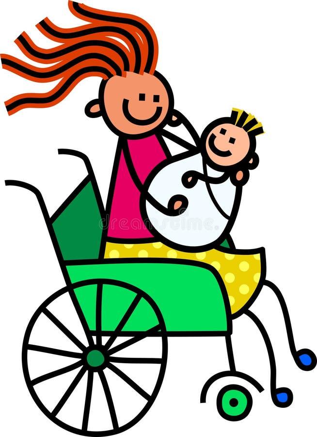 残疾母亲和婴孩 库存例证