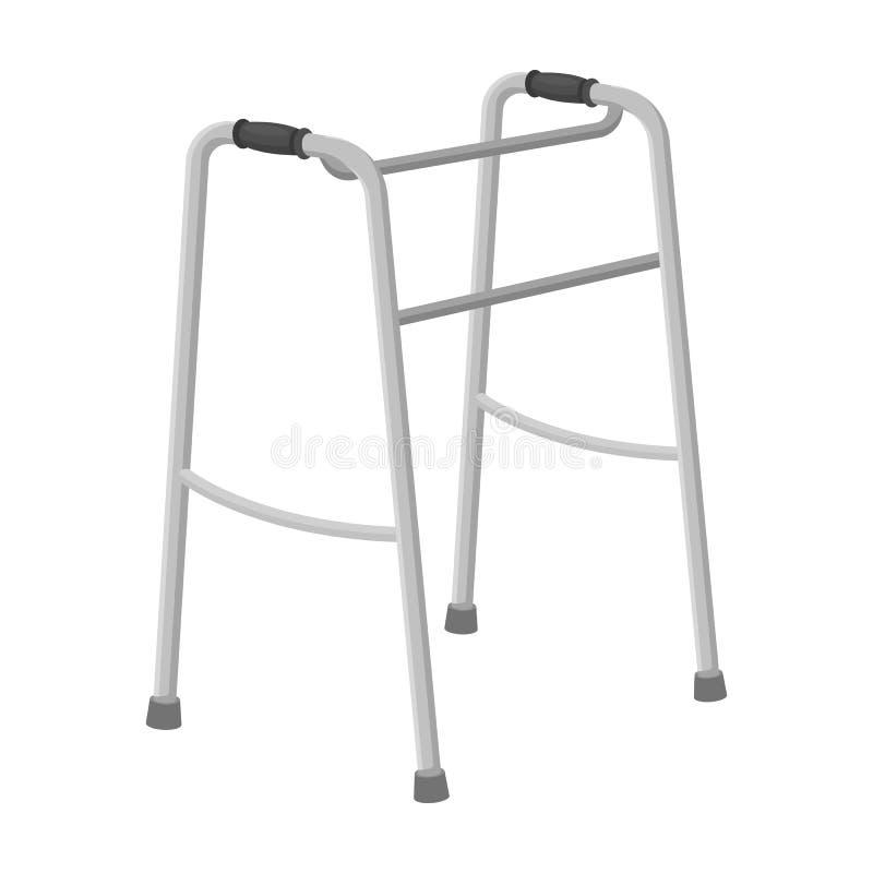 残疾的步行者 在单色样式传染媒介标志股票例证网的晚年唯一象 库存例证