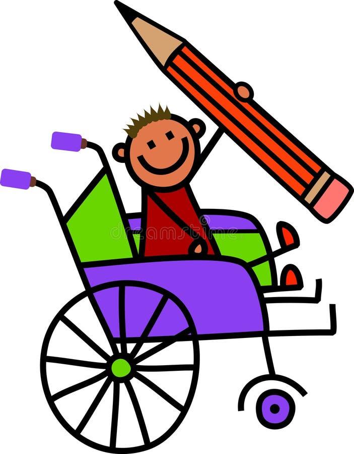 残疾铅笔男孩 库存例证