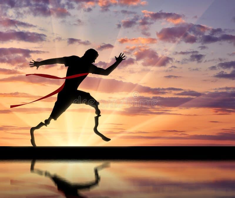 残疾paralympic横穿终点线和反射 库存图片