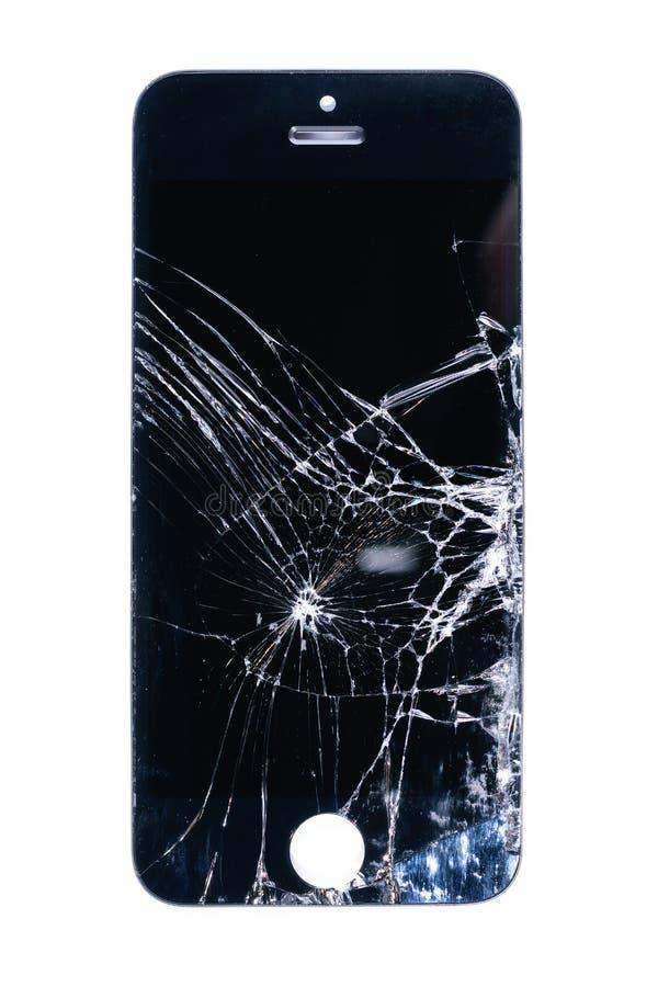 残破和破裂的玻璃智能手机屏幕,在黑屏幕上的空白线路在白色背景,设计元素,背景纹理 免版税库存图片