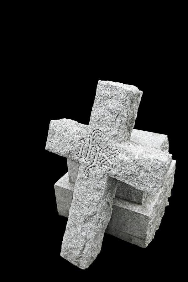 残破的世纪交叉墓碑第十九 库存照片