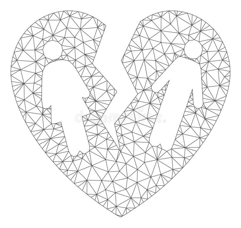 残破的家庭心脏多角形框架传染媒介滤网例证 库存例证