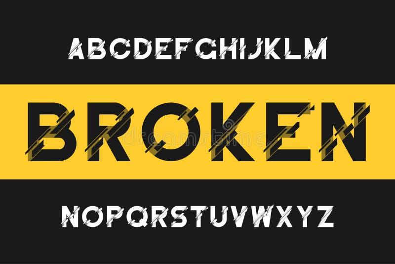 残破的小故障字体 与畸变的现代Sans Serif字母表 与残破的向量字体 皇族释放例证