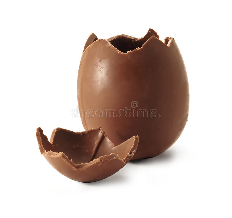 残破的巧克力复活节彩蛋 图库摄影