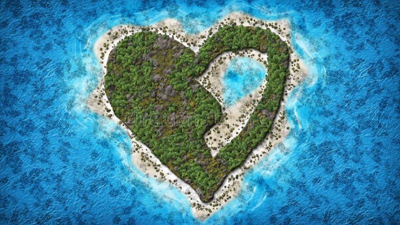 残破的心形的海岛 向量例证