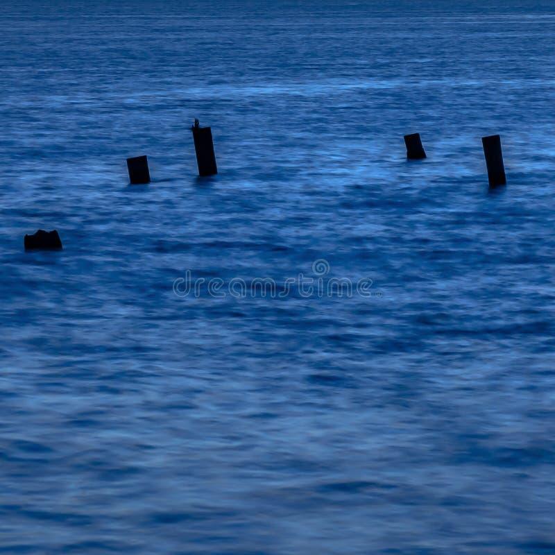 残破的木柱子在黄昏的光滑的水中 库存照片