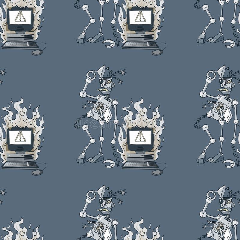 残破的机器人和残破的计算机无缝的样式 皇族释放例证