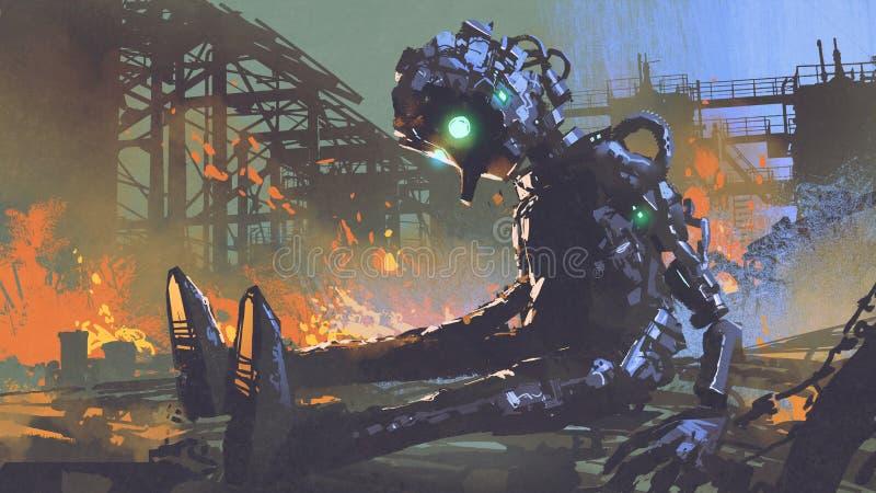 残破的机器人有叶在被放弃的工厂 皇族释放例证