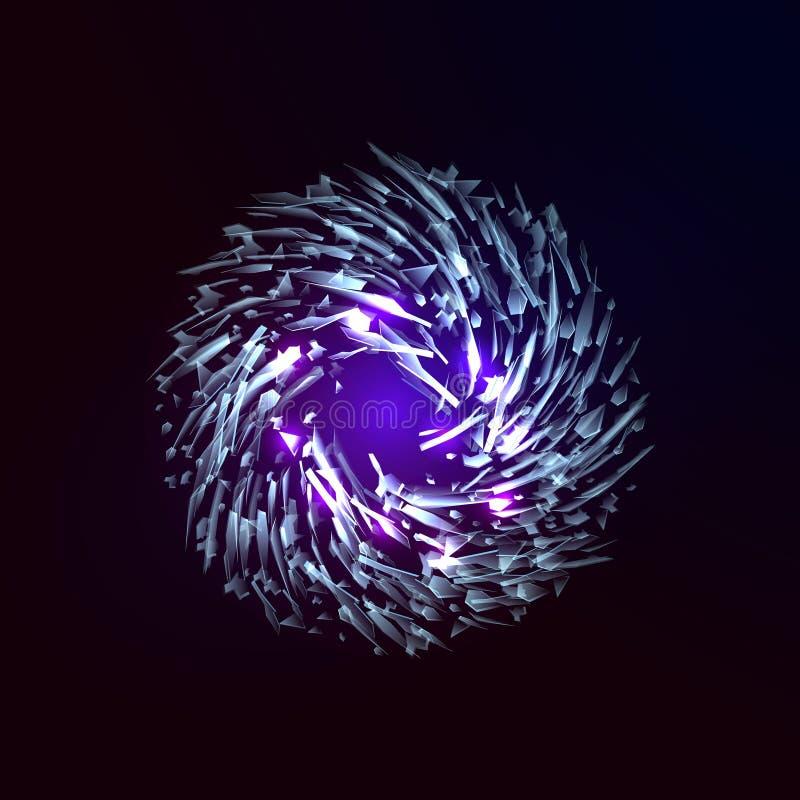 残破的玻璃爆炸 提取swirly星系 库存例证