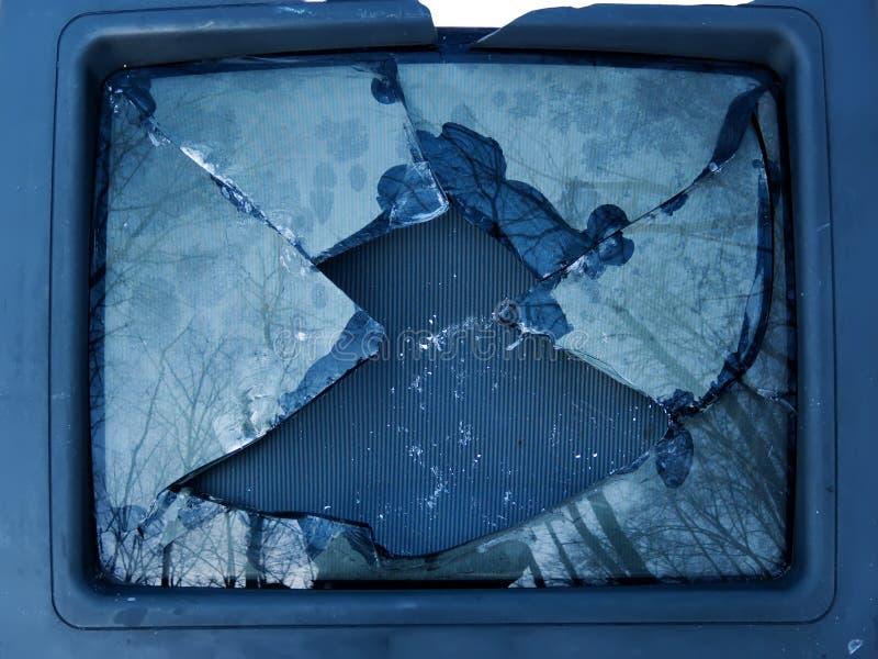 残破的玻璃电视 库存照片