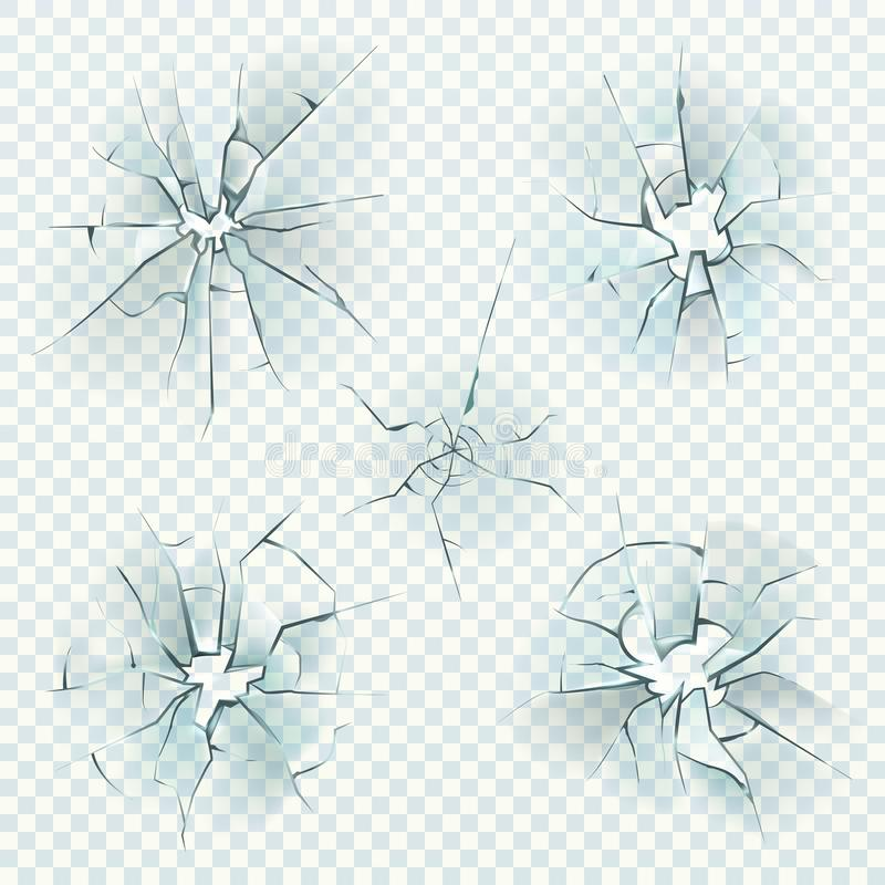 残破的玻璃 现实破裂被击碎的扭屈反映崩溃冰,被打碎的凉窗,子弹玻璃孔 ?? 皇族释放例证