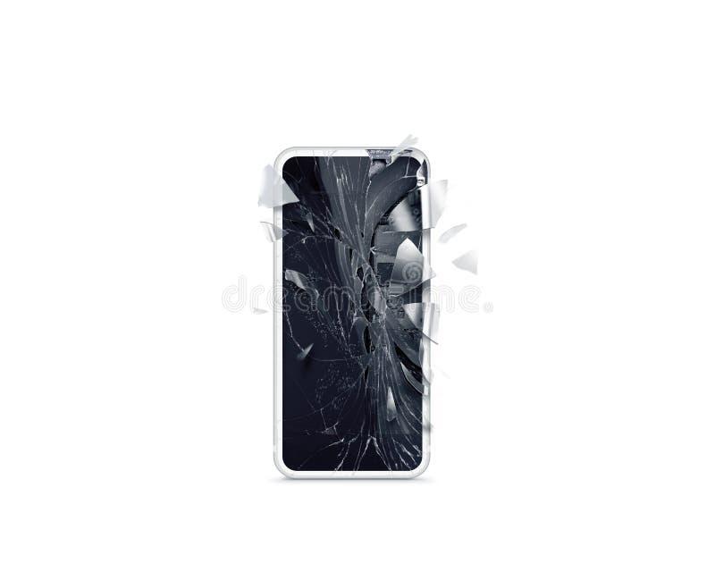 残破的白色手机屏幕大模型,疏散碎片 免版税图库摄影