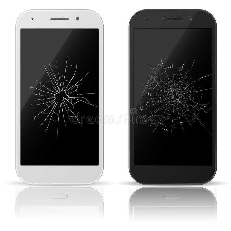 残破的移动电话 智能手机屏幕以抓痕 破裂的触摸屏 修理智能手机 向量 皇族释放例证